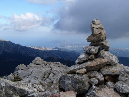 View to the Alcudia Bay from Puig d'en Galileu summit